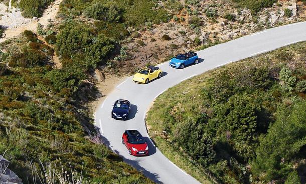 Citroen DS3 Cabrio Mazda MX-5 Roadster Coupe VW Beetle Cabriolet Mini One Cabrio Bilder Vergleich
