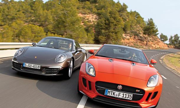 Porsche 911 Carrera Jaguar F-Type S Coupé Vergleich Bilder technische Daten