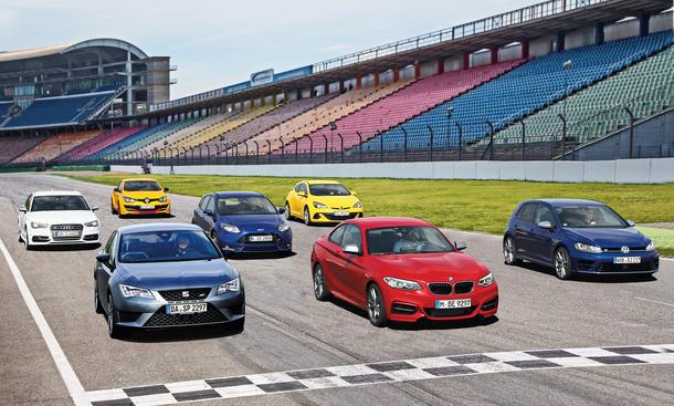 Kompaktsportler Vergleichstest BMW M235i Seat Leon Cupra VW Golf R Ford Focus ST Opel Astra OPC Audi S3 Sportback Renault Megane
