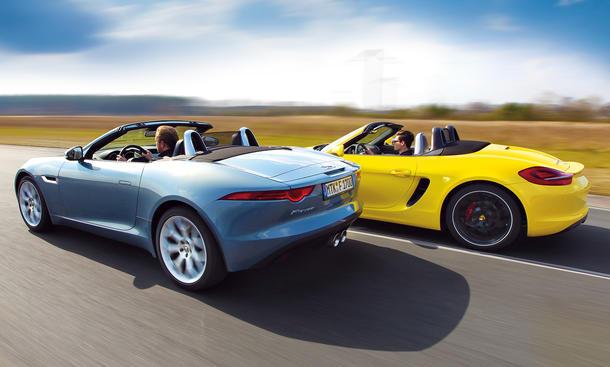 Jaguar F-Type Cabriolet Porsche Boxster S Vergleich Bilder technische Daten