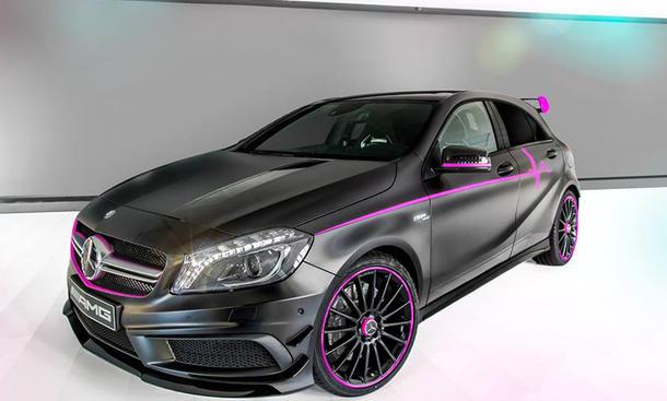 Mercedes A 45 AMG Sondermodell Erika Kompaktsportler pinke Töne