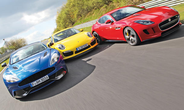 Aston Martin Vanquish Jaguar F-Type Porsche 911 Turbo Sportwagen Vergleich Nordschleife Bilder