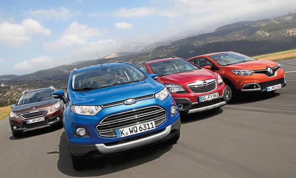 Ford EcoSport Opel Mokka Peugeot 2008 Renault Captur Kompakt-SUV Vergleich Bilder technische Daten
