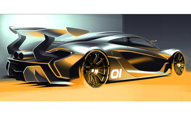 McLaren P1 GTR 2015 Rennversion Rennstrecken-Variante Hybrid-Supersportwagen Skizze