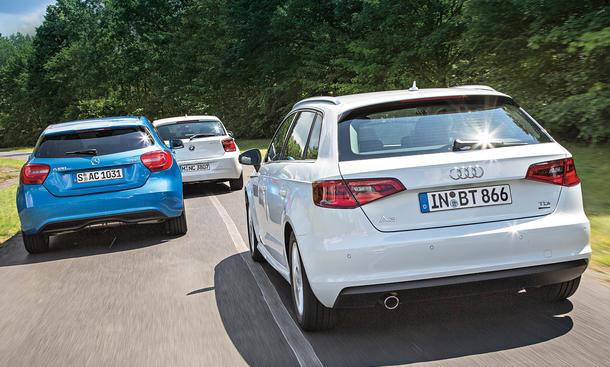 Kompakte Sparer im Vergleich: Audi A3 ultra vs. BMW 116d und Mercedes A 180 CDI