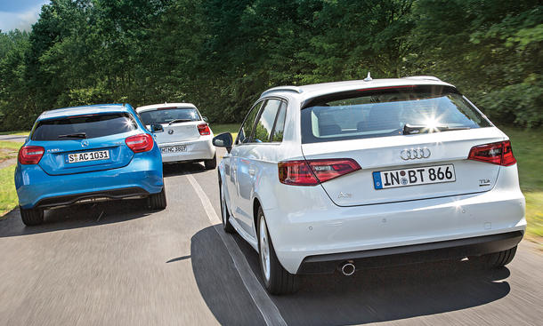 Audi A3 1.6 TDI ultra BMW 1er 116d Mercedes A 180 CDI Kompakte Spardiesel Vergleichstest Bilder