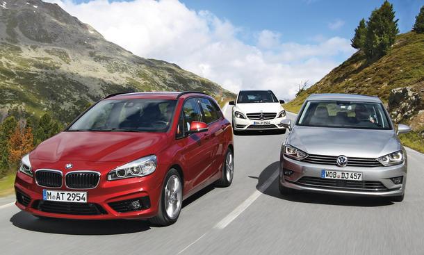 BMW 218d Active Tourer vs. Mercedes B 200  VW Golf Sportsvan: Vergleich