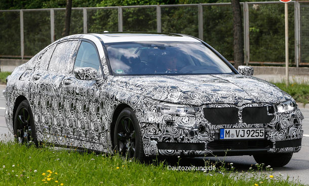 BMW 7er G11 2015: Luxus-Limousine mit Serien-Scheinwerfern gesich