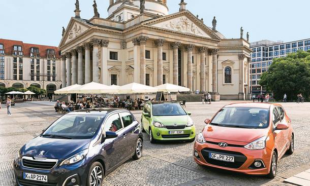 Peugeot 108 Skoda Citigo Hyundai i10 Vergleich Bilder technische Daten
