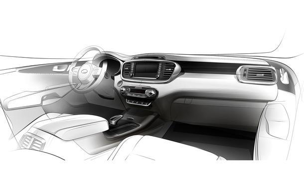 Kia Sorento 2015 SUV Innenraum Interieur Skizze Pariser Autosalon 2014