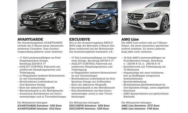 Mercedes C-Klasse Limousine T-Modell Kaufberatung Bilder technische Daten Linien