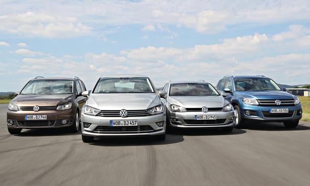Vergleich der VW-Kompakten: Golf Sportsvan, Variant, Touran, Tiguan