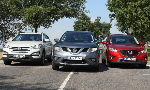 Hyundai Santa Fe Mazda CX-5 Nissan X-Trail SUV Vergleichstest