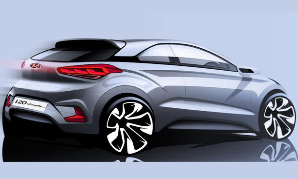 Hyundai i20 Dreituerer 2014 Paris 3 Tuerer Kleinwagen Design Skizze
