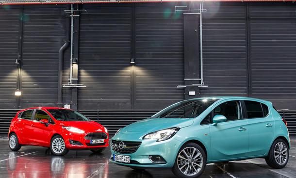 Opel Corsa 2014 Ford Fiesta Kleinwagen Benziner Vergleich Bilder technische Daten
