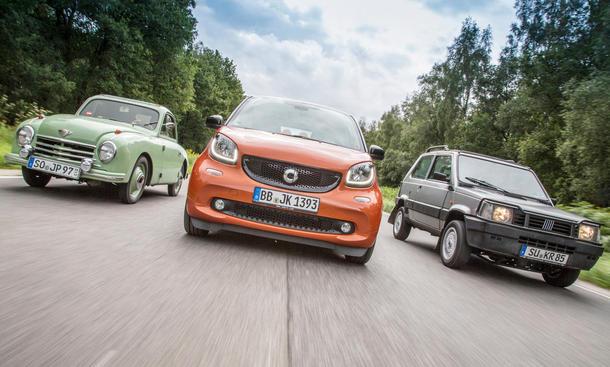 Smart Fortwo 2014: Erster Vergleich mit Fiat Panda 4x4 und Gutbrod Superior