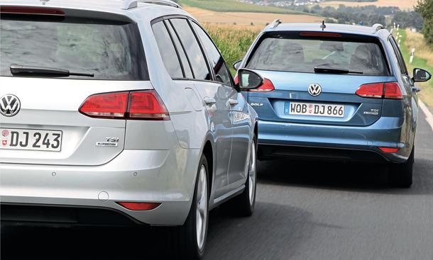 VW Golf Variant 1.2 BMT 1.6 TDI BMT Vergleich Benziner Diesel Bilder technische Daten