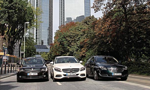 Mercedes C 180 Opel Insignia 1.6 ecotec DI Turbo Skoda Superb 1.8 TSI Limousinen Vergleichstest