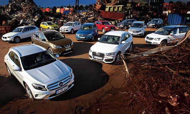 Audi Q3 BMW X1 Dacia Duster Ford Kuga Mercedes GLA Nissan Qashqai SUV Vergleich Bilder technische Daten