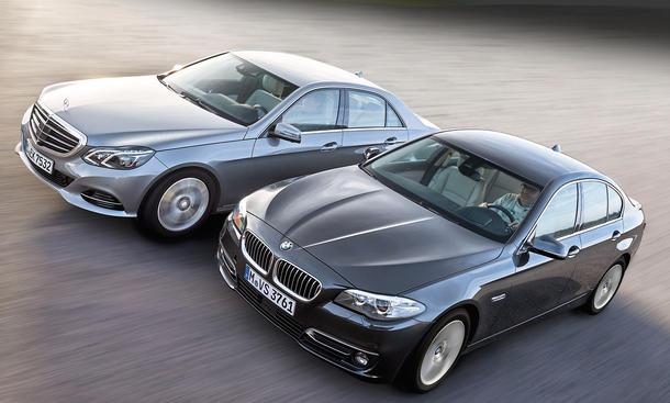 BMW 518d Mercedes E 200 BlueTEC Oberklasse Limousinen Diesel Vergleichstest