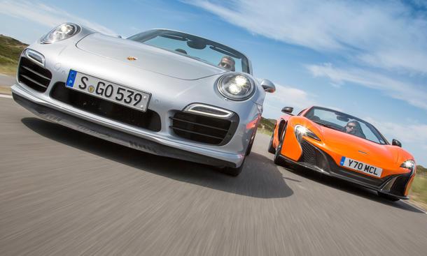 mclaren 650s spider vs. porsche 911 turbo s cabrio: