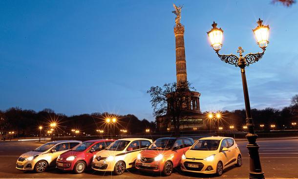 Smart Forfour Hyundai i10 Peugeot 108 Renault Twingo VW Up City-Cars Kleinstwagen Vergleichstest