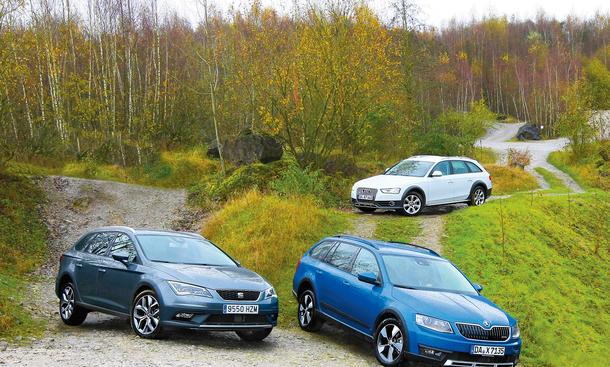 Audi A4 allroad Seat Leon X-Perience Skoda Octavia Scout Kombis Diesel Vergleichstest