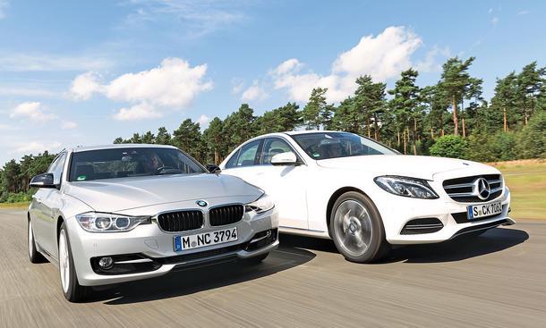 BMW 325d Mercedes C 250 BlueTEC Mittelklasse Limousinen Diesel Vierzylinder Bi-Turbo Markenvergleich Test Bilder