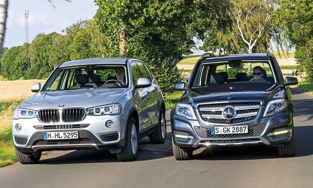 BMW X3 xDrive20d Mercedes GLK 220 CDI 4Matic Mittelklasse-SUV Diesel Vierzylinder Markenvergleich Test