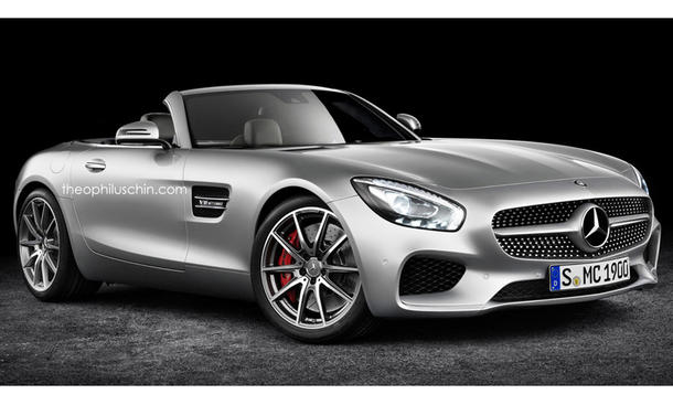 mercedes amg gt roadster 2016 rendering zeigt offenen. Black Bedroom Furniture Sets. Home Design Ideas