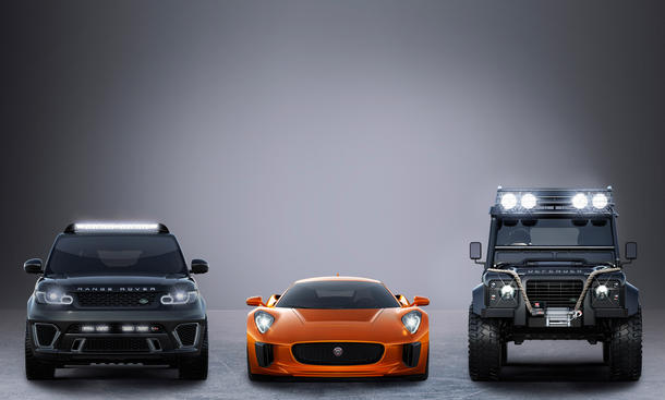 Jaguar Land Rover James Bond 007 SPECTRE Filmautos Range Rover Sport Defender C-X75
