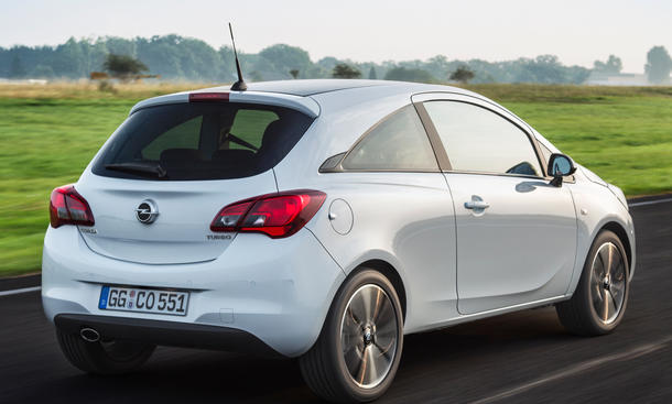 Opel Corsa 1.4 LPG Ecoflex 2015 Heck Fahraufnahme Kleinwagen Autogas