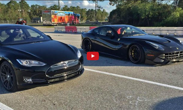 Video: Tesla Model S P85d vs. Ferrari F12