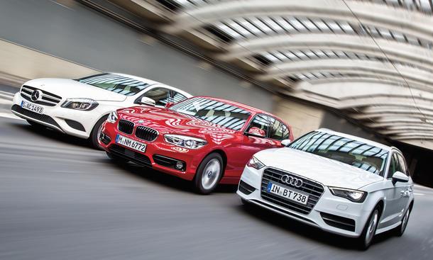 Audi A3 Sportback BMW 1er Mercedes A-Klasse Kompakte Diesel Vergleichstest