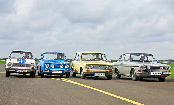 Glas 1304 TS, Renault 8 Gordini 1300, Fiat 124 S, Ford 15M RS Vergleich Oldtimer Limousine Sport