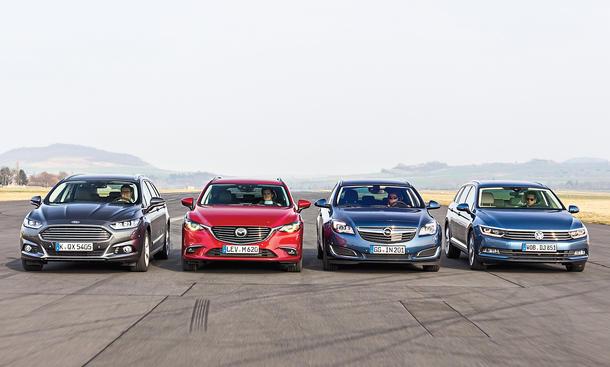 Ford Mondeo Turnier Mazda 6 Kombi Opel Insignia Sports Tourer VW Passat Variant Vergleich