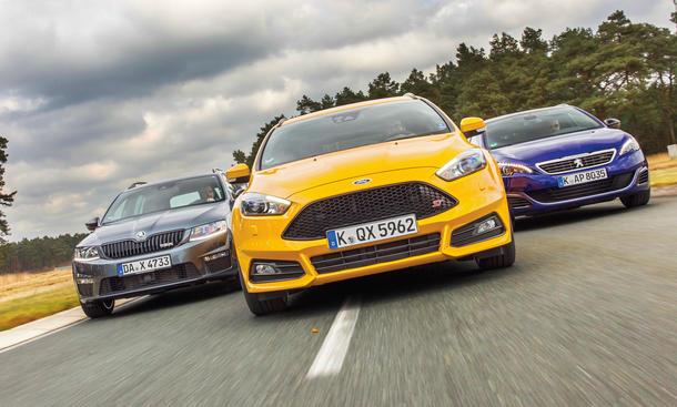 Ford Focus ST Turnier 2.0 TDCi Peugeot 308 GT SW 2.0 BlueHDi Skoda Octavia RS Combi 2.0 TDI Vergleichstest