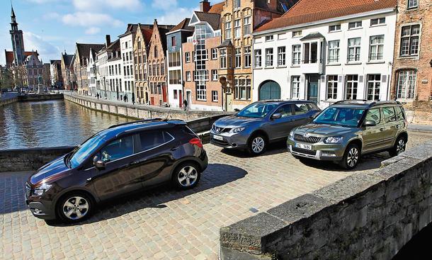 Nissan Qashqai Opel Mokka Skoda Yeti SUV Vergleichstest
