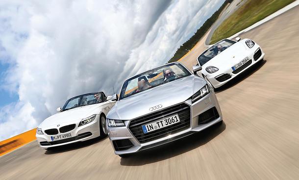 Audi TT BMW Z4 Porsche Boxster Roadster Vergleichstest