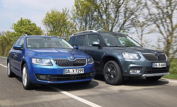 Skoda Octavia Combi Skoda Yeti Kombi SUV Konzept-Vergeich Test