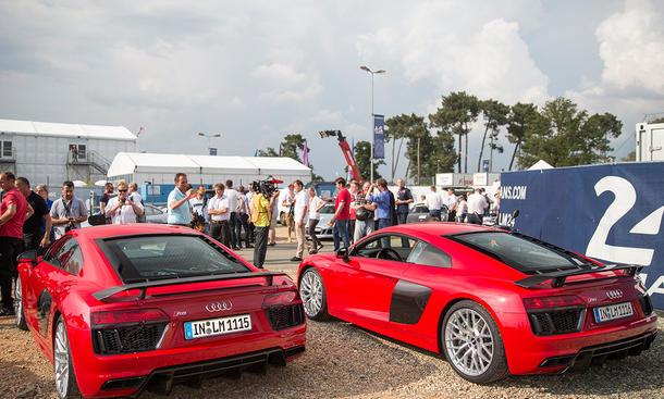 audi r8 2015 v10 plus fahrbericht le mans race track lms supersportwagen