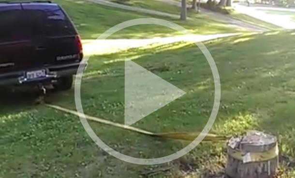 Video: Baumstumpf attackiert Geländewagen