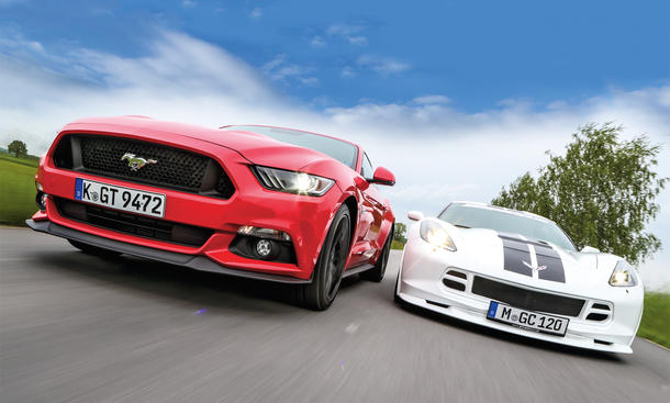 Ford Mustang GT Chevrolet Corvette C7 Stingray US-Sportwagen Vergleich