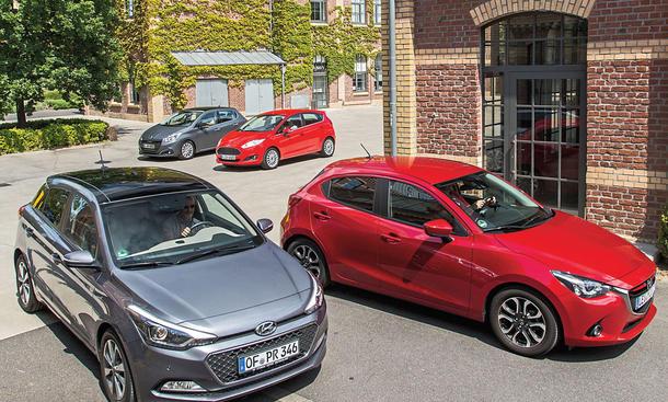 Peugeot 208 Ford Fiesta Hyundai i20 Mazda 2 Kleinwagen Vergleichstest