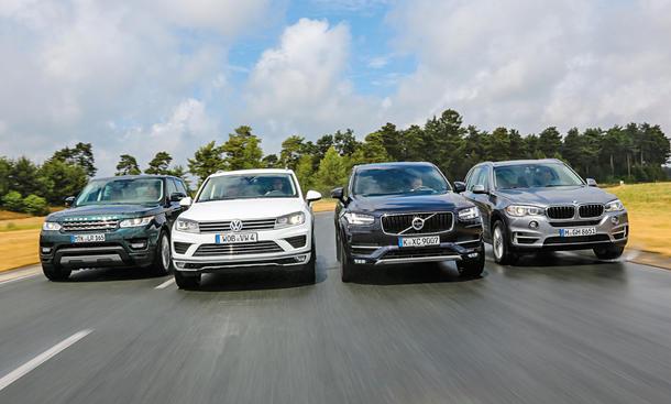Volvo XC90 BMW X5 Range Rover Sport VW Touareg SUV Vergleichstest