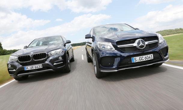 Vergleichstest Oberklasse-SUV Mercedes GLE Coupé BMW X6
