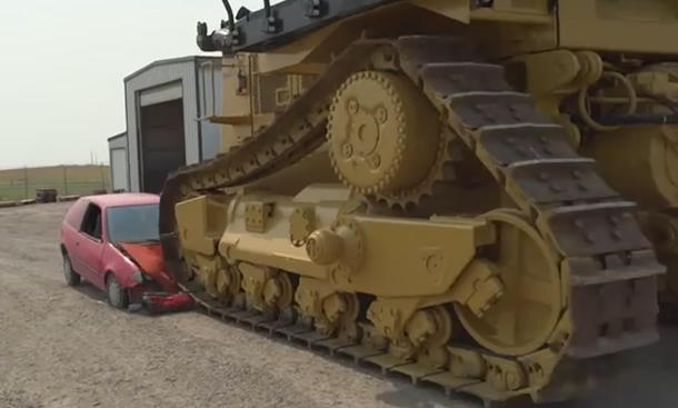 Caterpillar D11 vs. Pontiac Firefly: Video