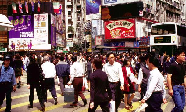 Rushhour Fußgänger in China leben gefährlich