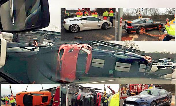 Autotransporter bei Paris umgekippt