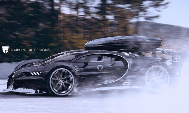 Bugatti Chiron mit Dachbox